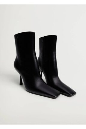 MANGO Woman Kadın Siyah Topuklu Deri Yarım Bot