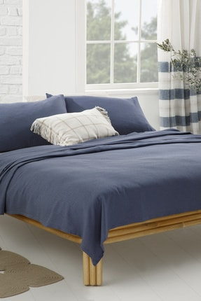 English Home Cool Stripe Soft Touch Tek Kişilik Pike Seti 150x220 cm Lacivert