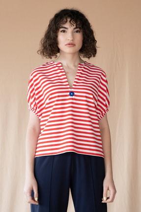 COFL Circle of Life Kırmızı Çizgili V Yaka Boxy Tişört