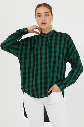 So Sweet Kadın Kareli Gömlek Yeşil