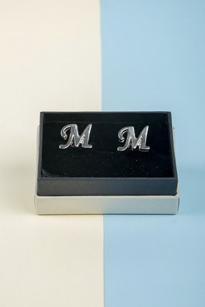 BAYEFENDİ Harfli Gümüş Renk Kol Düğmesi M Harfi