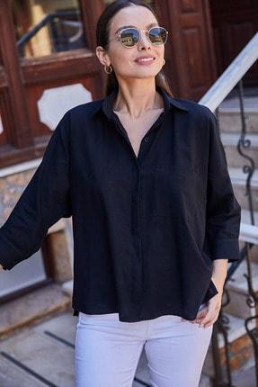 armonika Kadın Siyah Cepli Salaş Keten Gömlek ARM-21Y001035