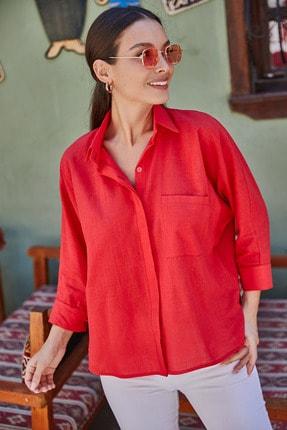armonika Kadın Kırmızı Cepli Salaş Keten Gömlek ARM-21Y001035