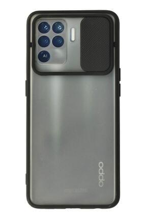 Oppo Reno 5 Lite Kılıf Palm Buzlu Kamera Sürgülü Silikon - Siyah