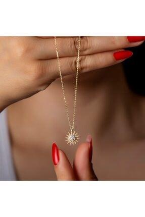 ernsilver Güneş Kolye, Altın Kaplama, Italyan Model, 925 Gümüş Kolye