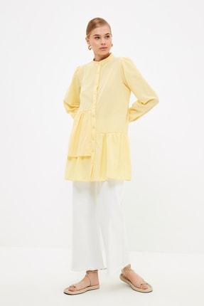 Trendyol Modest Sarı Hakim Yaka Asimetrik Detaylı Tesettür Tunik TCTSS21TN0404