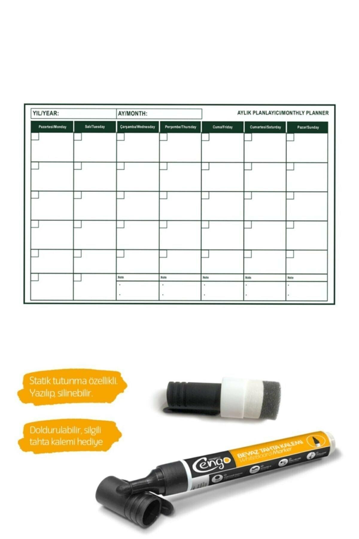 CNZ Pratik Mini Aylık Plan Çizelgesi -56x85 Cm Kağıt Tahta ( 2 Adet Silgili Kalem Hediye ) 1