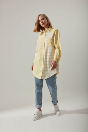 Mizalle Gömlek Yaka Çizgili Sarı Tunik