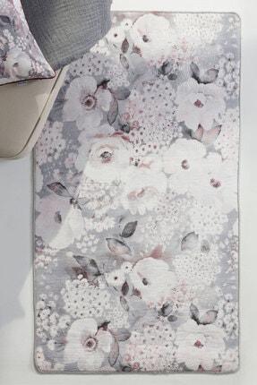 English Home Fall Floral Polyester Kaydırmaz Taban Halı 80x250 Pembe - Gri
