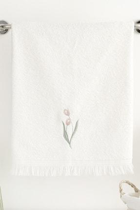 English Home Tulip Garden Nakışlı Yüz Havlusu 50X76 Cm Ekru
