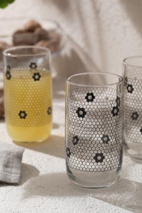 English Home Denby Flowery Cam 3'lü Meşrubat Bardağı 365 Ml Siyah-gold