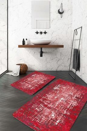 Evsebu Kırmızı Kenarlık Beyaz Düzensiz Çizgi Banyo Paspası