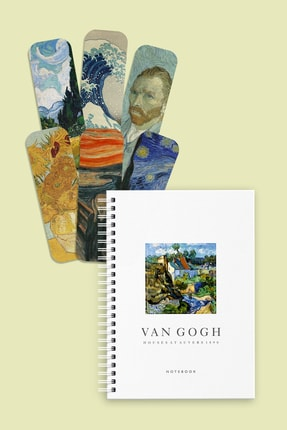 Özer Store Van Gogh House At Auvers Sert Kapak Spiralli Defter Ve Kitap Ayracı Seti