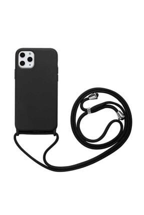 Apple Iphone 11 Pro Max Kılıf Ipli Boyun Askılı Lansman Dokulu Kadife Yumuşak Silikon