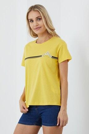VENA Kadın Sarı Baskılı Tişört