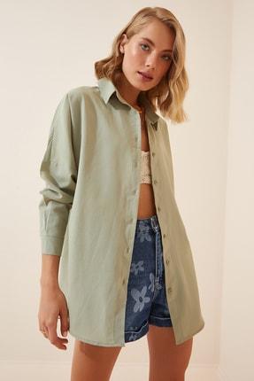 Happiness İst. Kadın Çağla Yeşili Oversize Uzun Basic Gömlek DD00842