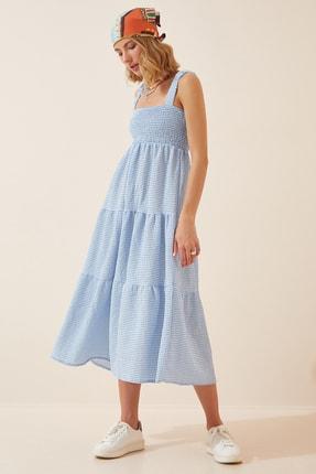 Happiness İst. Kadın Mavi Dokulu Pötikareli Yazlık Elbise DK00086
