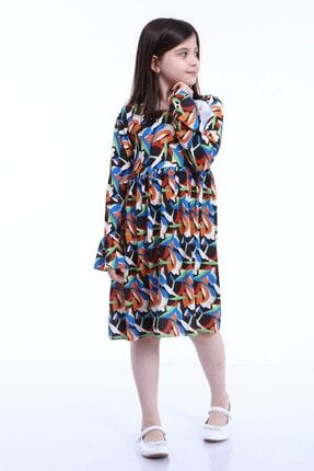 ROSALOVERS Krep Elbise 2-3 Yaş Kız Çocuk Yuvarlak Yaka Diz Altı Uzun Ömürlü