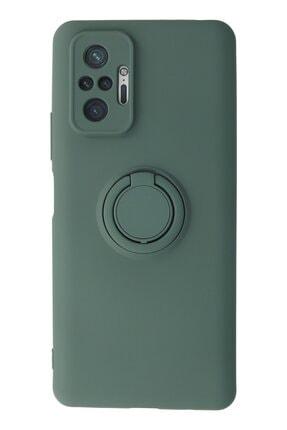 NewFace Xiaomi Redmi Note 10 Pro Kılıf Viktor Yüzüklü Mat Yapılı Slim Soft Kapak Kılıf - Yeşil