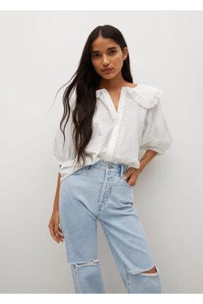 MANGO Woman Kadın Beyaz Bebe Yaka Bluz