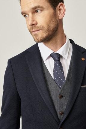 ALTINYILDIZ CLASSICS Erkek Lacivert Slim Fit Kombinli Yelekli Desenli Takım Elbise