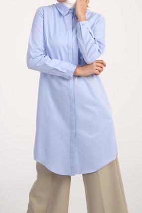 ALLDAY Mavi Gizli Patlı Pamuklu Gömlek Tunik