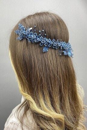 Hayalperest boncuk Indigo Mavi Sıla Model Gelin Kına Saç Aksesuarı