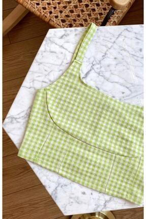 nrrbutik Yeşil Pötikare Askılı Crop Bluz Büstiyer