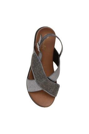 Bambi Ayakkabı Kadın Taşlı Platin Sandalet