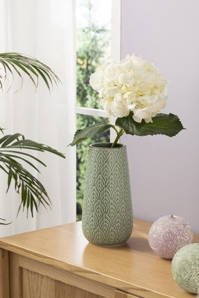 English Home Leafy Vazo 12.2x12.2x23.6 Cm Yeşil