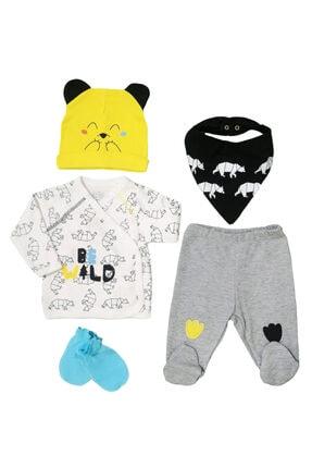 İmaj Be Wild Baskılı 5 Parça Set Erkek Bebek Hastane Çıkışı
