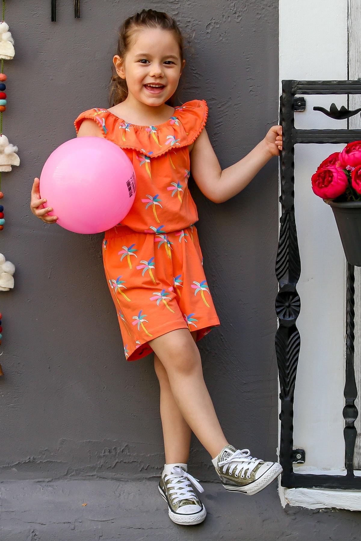 indokids Kız Çocuk Turuncu  Carmen Yaka Ponpon Detaylı Palmiye Baskılı Beli Lastikli Şort Tulum IND999951