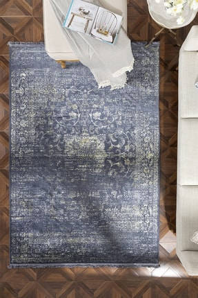 English Home Silk Touch Tony Kadife Halı 120x180 Cm Lacivert