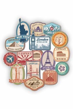 TUGİBU Dünya Şehirleri Temalı Laptop Notebook Kask Valiz Sticker Etiket Seti