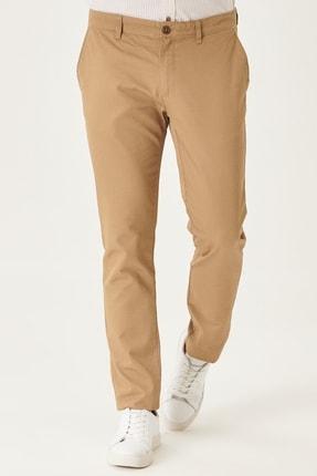 AC&Co / Altınyıldız Classics Erkek Camel Kanvas Slim Fit Dar Kesim Yan Cep %100 Koton Chino Pantolon