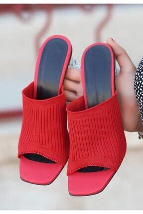 ESPARDİLE Kadın Evra Kırmızı Triko Topuklu Terlik