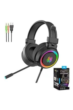 Teknoloji Gelsin Profesyonel Oyuncu Kulaklığı Işıklı Rgb Kulak Üstü Mikrofonlu Kablolu Gaming V5