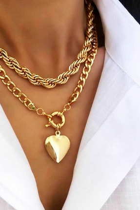 Jenny Daphne Kadın Altın Kalpli Tasarım Kolye