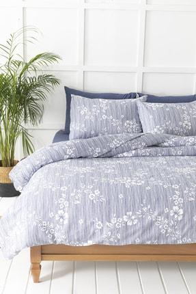 English Home Pure Flowers Krep Çift Kişilik Nevresim Takımı 200x220 Cm Lacivert