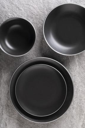 Aryıldız Saten Black Silver 24 Parça Yemek Takımı