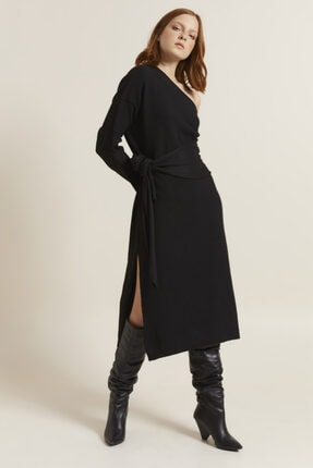 Love My Body Kadın Siyah Tek Omuzlu Triko Elbise