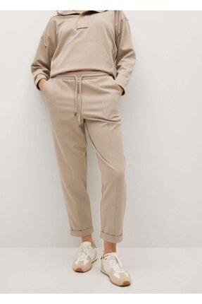 MANGO Woman Kadın Açık/Pastel Gri Jogger Tarz Pamuklu Pantolon