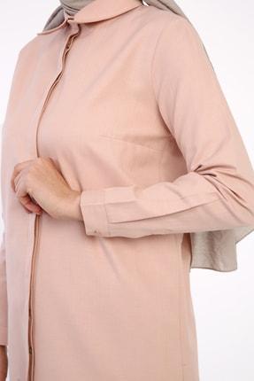 ALLDAY Pudra Gizli Patlı Pamuklu Gömlek Tunik