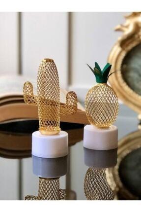 UMTS 2'li Metal Ananas Ve Kaktüs Model Mini Gece Ve Masa Dekor Lambası Pilli