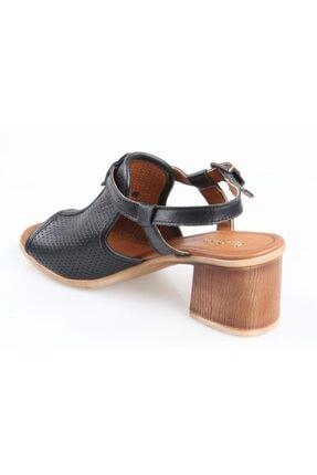 Pierre Cardin Pc-2434 Ortapedik Kısa Topuk Siyah Bayan Deri Sandalet