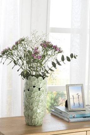 English Home Hortensia Porselen Vazo 14x14x29.2 Cm Yeşil