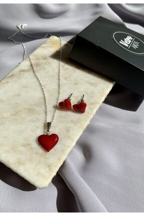 Vetro Arte 925 Ayar Gümüş Zincirli El Yapımı Murano Cam Kırmızı Kalp Kolye Küpe Set