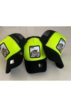Dışkaya Tiger Hayvan Desenli Trend Şapka Fosforlu Arkası Siyah Fileli