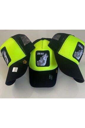 Dışkaya Kurt Wolf Hayvan Desenli Trend Şapka Fosforlu Siyah Renk Arkası Fileli