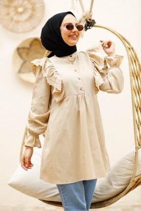 Bestenur Kadın Gri Fırfırlı Gömlek